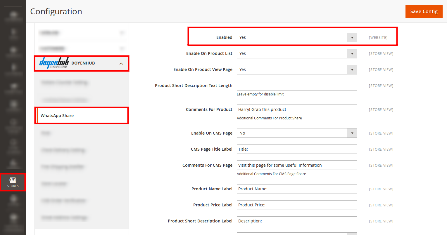 You can enable/disable WhatsApp Share extension for product view page